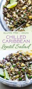 Caribbean Lentil Salad - This easy, healthy cold lentil salad recipe has a Caribbean-inspired, tropical twist! It's a vegan-friendly, gluten free meal that's packed with plant-based protein! Make-ahead friendly and great for meal prep! | #Foodfaithfitness | #Vegan #Healthy #Plantbased #Salad #Healthy
