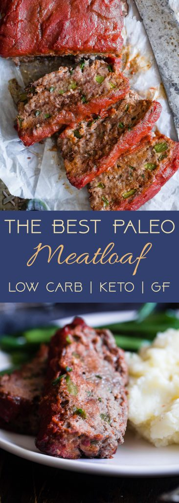 Easy Low Carb Paleo Meatloaf -This healthy Paleo Meatloaf is a family-friendly weeknight dinner that's gluten/grain/dairy/sugar free and whole30 compliant! Only 210 calories and picky eater approved!   #Foodfaithfitness   #Paleo #Whole30 #Keto #Glutenfree #LowCarb