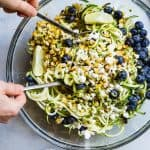 Cold Summer Zucchini Noodle Pasta Salad