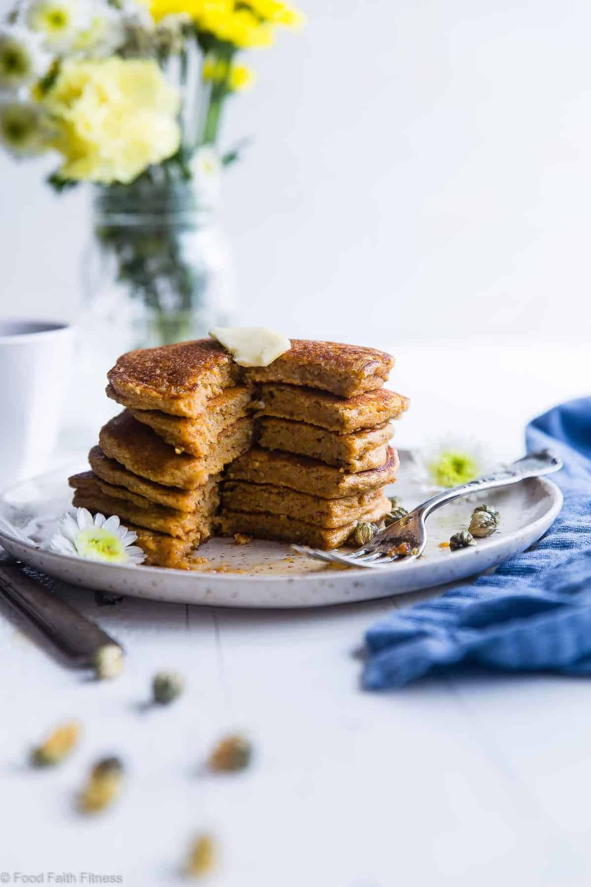 Healthy Gluten Free Paleo Sweet Potato Pancakes - SO fluffy and tender that you won't believe they're made without butter or oil! Perfect for a healthy breakfast and freezes great for busy mornings! | #Foodfaithfitness | #Glutenfree #Paleo #Healthy #Dairyfree #Pancakes