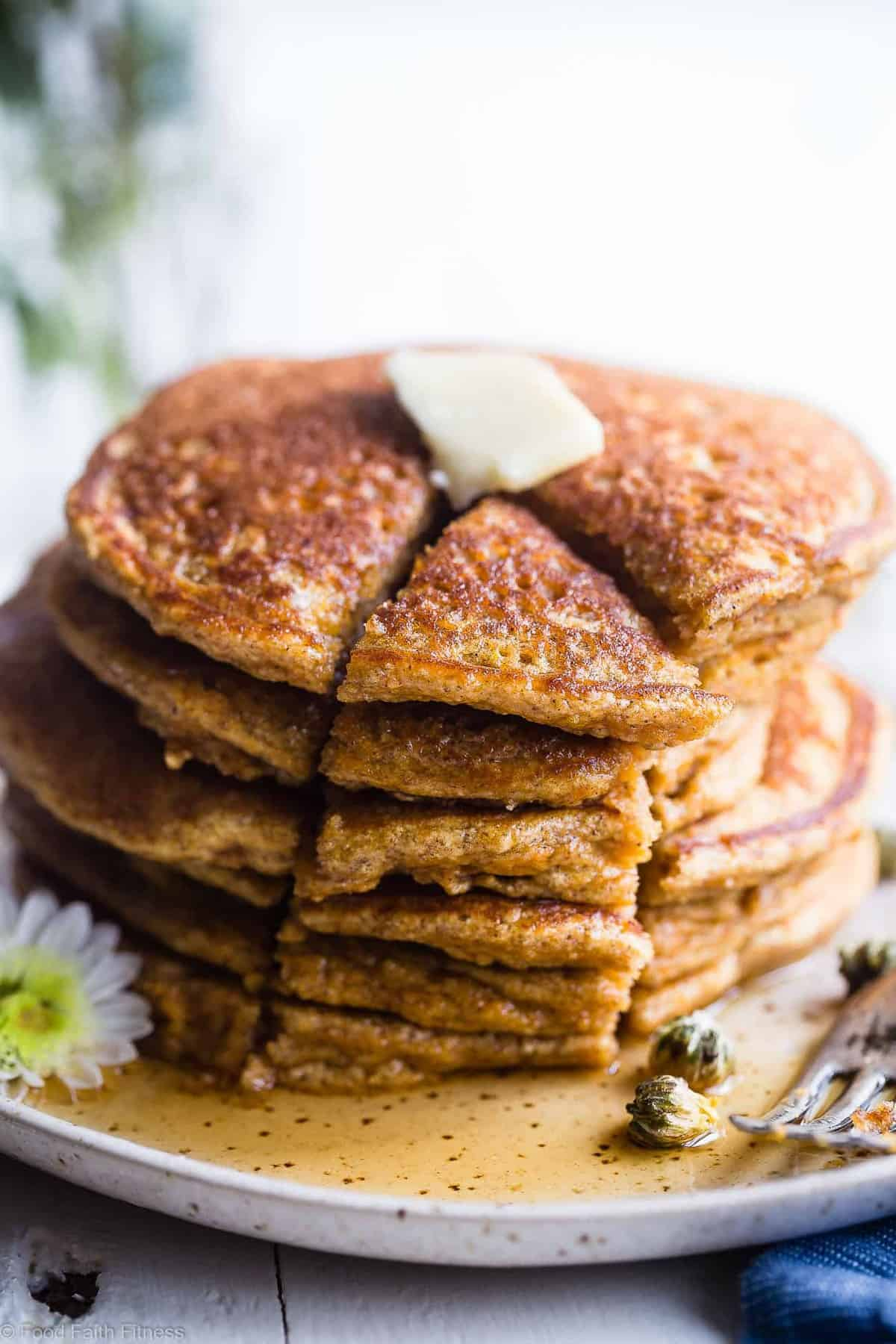 Gluten Free Paleo Sweet Potato Pancakes - SO fluffy and tender that you won't believe they're made without butter or oil! Perfect for a healthy breakfast and freezes great for busy mornings! | #Foodfaithfitness | #Glutenfree #Paleo #Healthy #Dairyfree #Pancakes