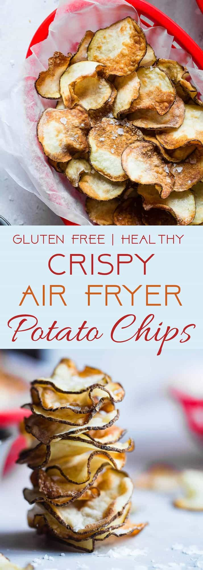 Air Fryer Potato Chips - These EASY Air Fryer Potato Chips are perfectly crispy and crunchy and only use 2 ingredients! You'll never believe they are healthy, vegan, gluten free and only 75 calories for a large serving! | #Foodfaithfitness | #Glutenfree #Airfryer #Healthy #Vegan #CleanEating