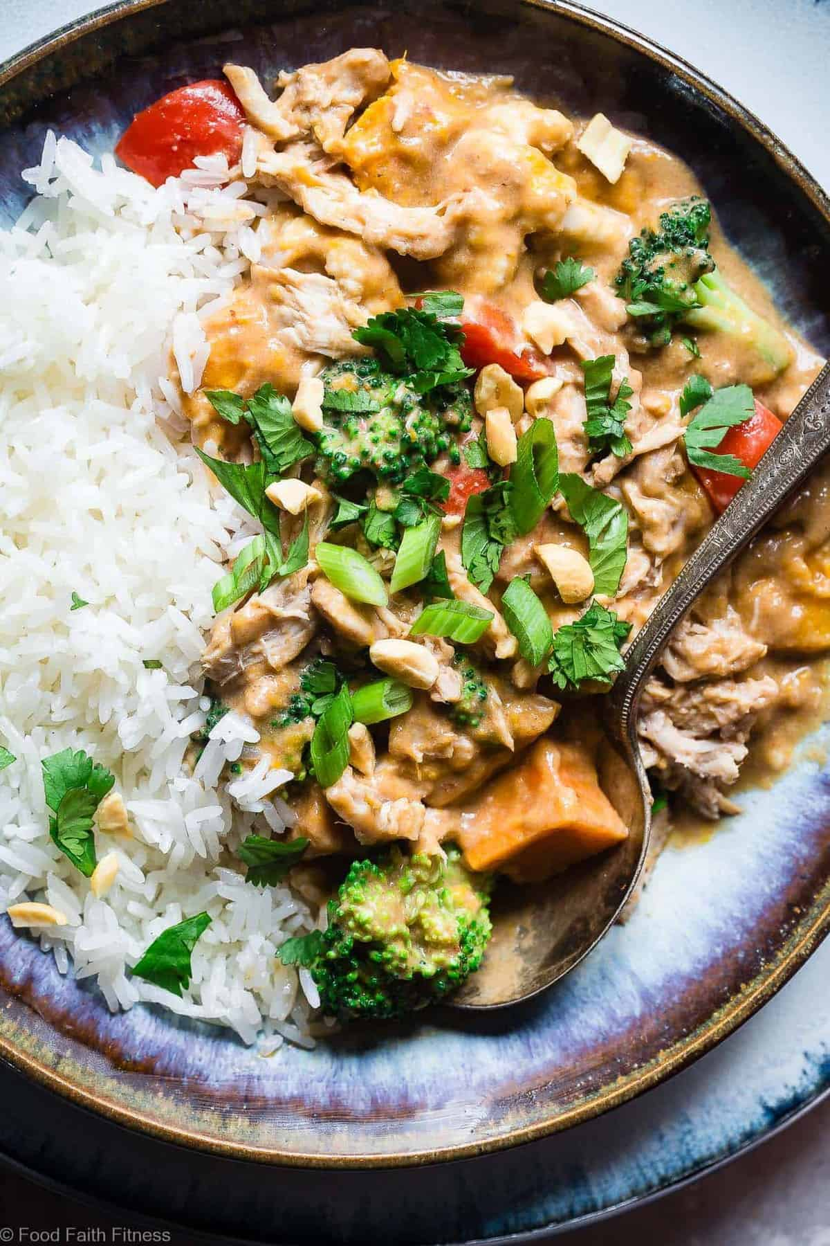Easy Crockpot Thai Peanut Butter Chicken Curry - The slow cooker does all the work for you in this EASY, weeknight family-friendly dinner that is gluten and dairy free and packed protein. Great for meal prep too!   #Foodfaithfitness   #Glutenfree #Dairyfree #Slowcooker #Crockpot #Healthy