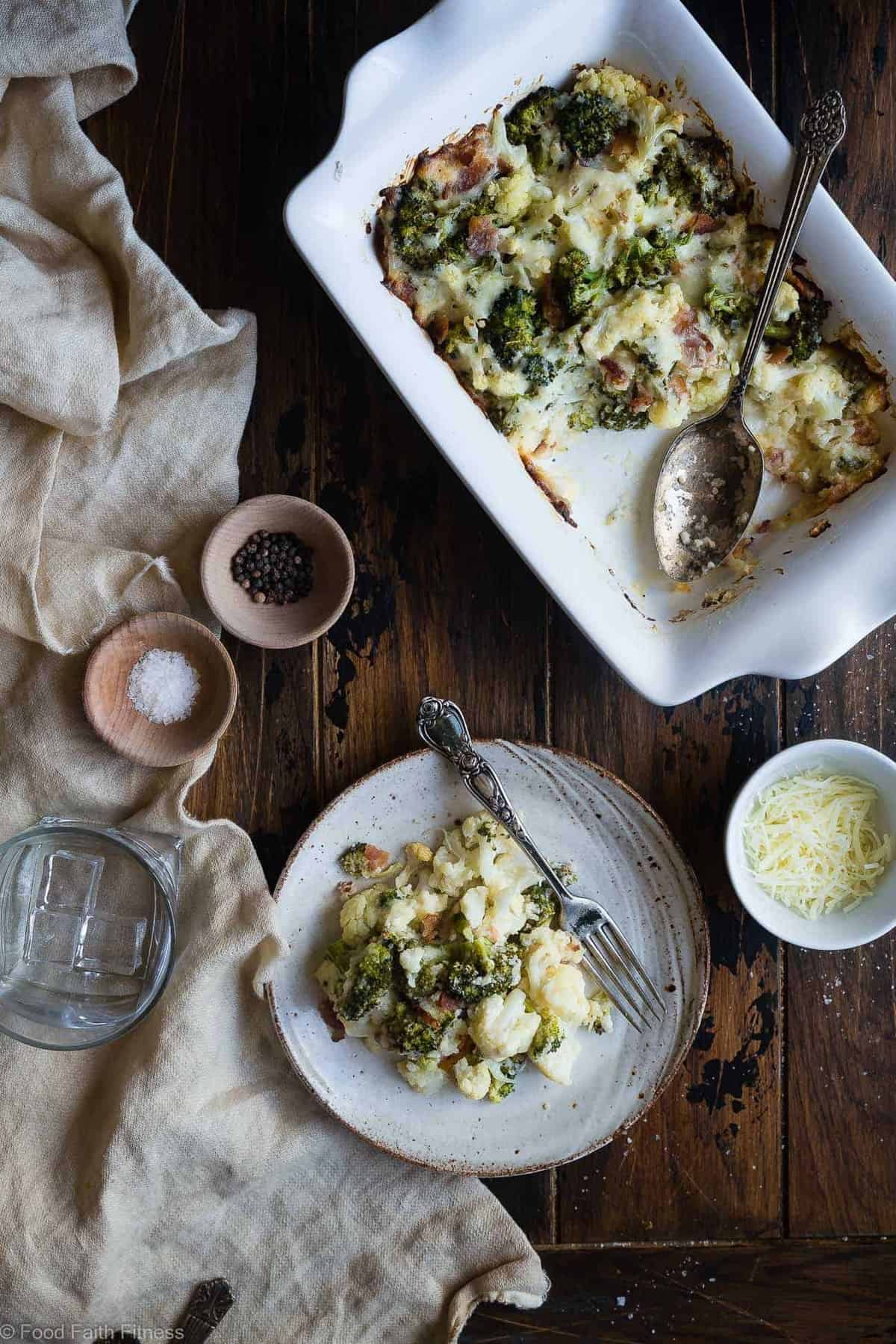 Easy Cheesy Broccoli Loaded Cauliflower Casserole - THE side dish that will make your family love vegetables - even picky eaters! Low carb, gluten/grain/sugar free and keto friendly too! | #Foodfaithfitness | #Glutenfree #Keto #Lowcarb #Cauliflower #Healthy