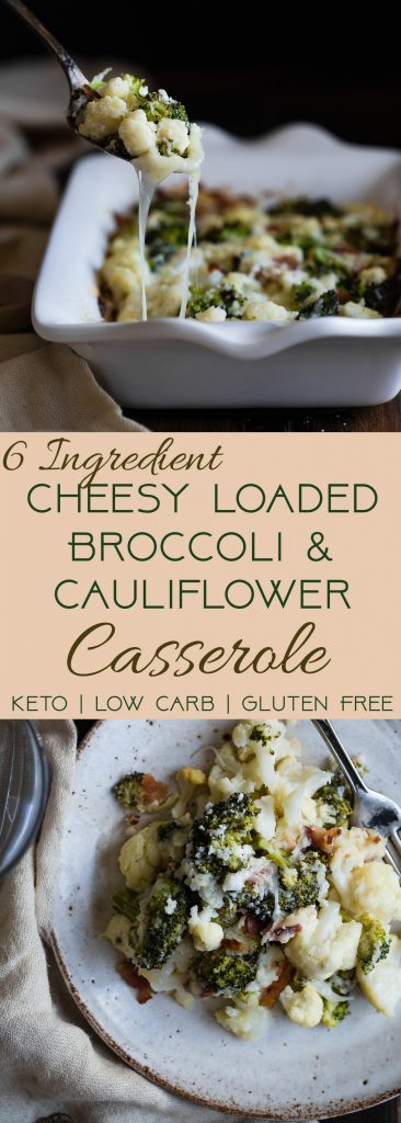 Easy Cheesy Loaded Broccoli Cauliflower Casserole - THEside dish that will make your family love vegetables - even picky eaters! Low carb, gluten/grain/sugar free and keto friendly too!   #Foodfaithfitness   #Glutenfree #Keto #Lowcarb #Cauliflower #Healthy