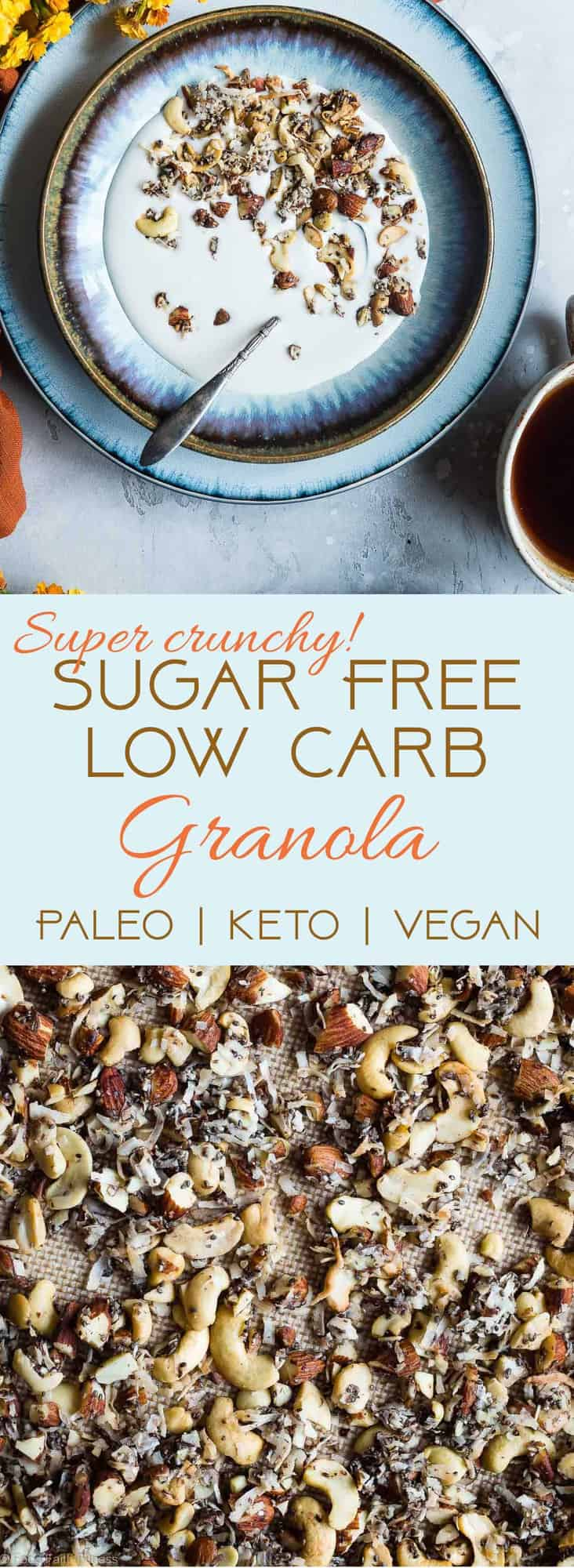 Coconut Cashew Low Carb Keto Granola -SO crispy and crunchy that you'll never guess it's secretly healthy, low carb, gluten and sugar free and paleo and vegan friendly! The perfect breakfast or snack that's great for meal prep! | #Foodfaithfitness | #Paleo #Vegan #Keto #Lowcarb #Healthy