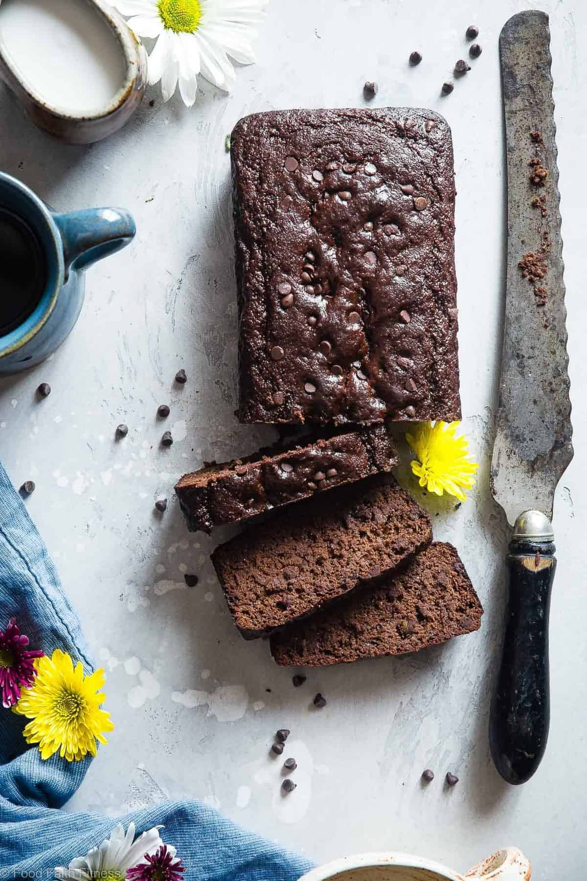 Easy Chocolate Paleo Zucchini Bread - This gluten free zucchini bread is secretly packed with protein and collagen to support healthy skin and bones! It's a healthy, breakfast or snack for kids and adults, and freezes great! | #Foodfaithfitness | #FoodFaithFit | #Paleo #Glutenfree #Collagen #Chocolate #Healthy