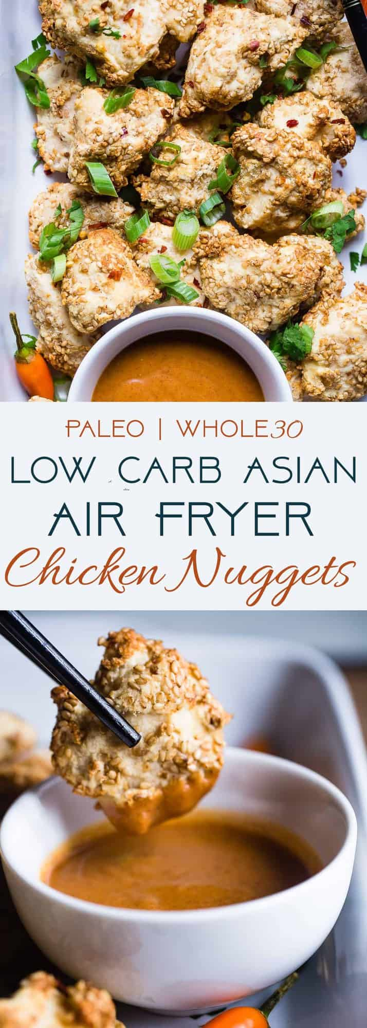 Crispy Low Carb Air Fryer Chicken Nuggets - These baked chicken nuggets are are cooked in the air fryer and have an Asian twist! A healthy, whole30, gluten free, family-friendly weeknight dinner that even picky eaters will love! Oven baked option too! | #Foodfaithfitness | #Paleo #Whole30 #Lowcarb #Glutenfree #Keto