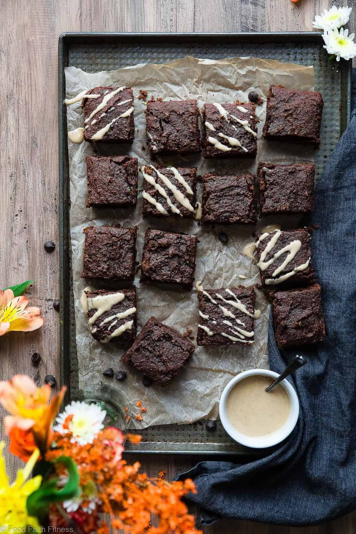 Paleo Sweet Potato Brownies - These healthy brownies are SO dense, chewy and moist! No one will believe they use sweet potato and are gluten/grain/dairy and refined sugar free! | #Foodfaithfitness | #Paleo #Glutenfree #Healthy #Brownies #Grainfree