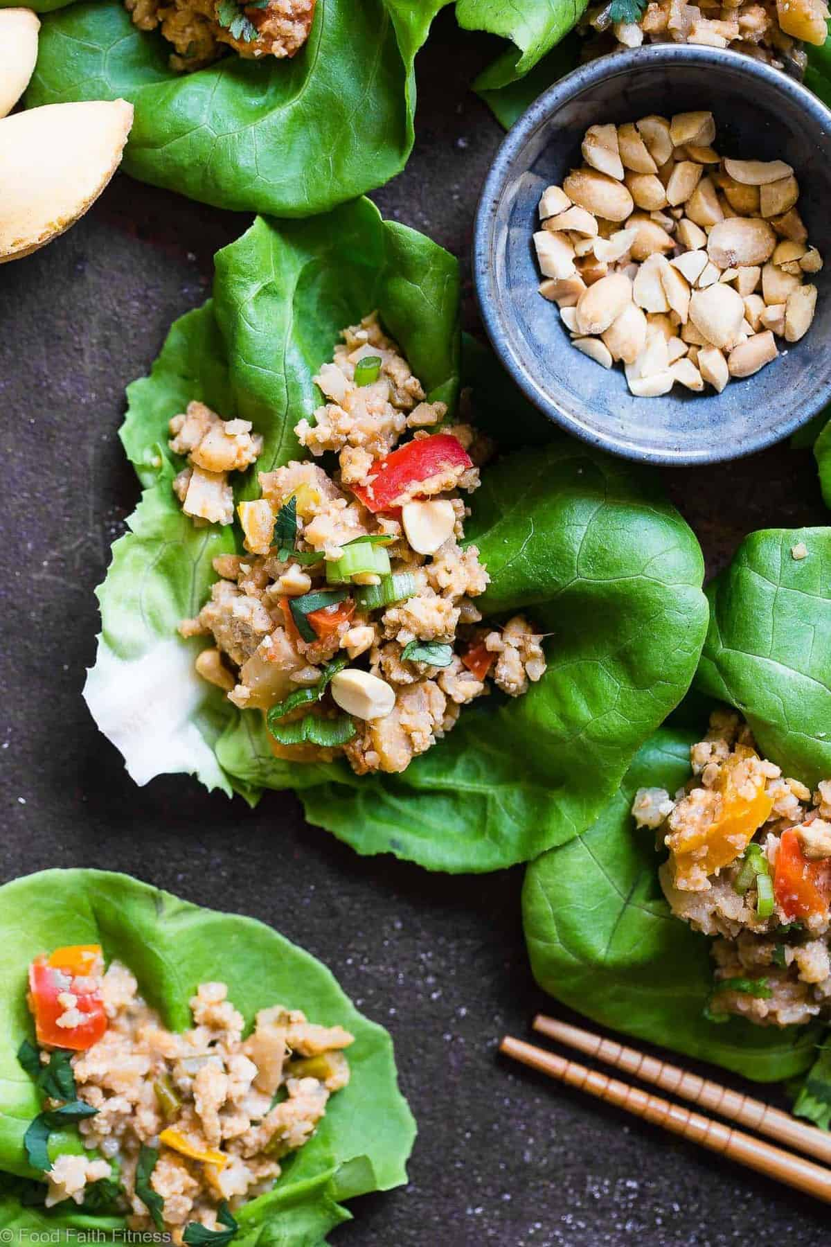 Slow Cooker Asian Chicken Lettuce Wraps - These healthy Lettuce Wraps couldn't be easier! The slow cooker does all the work for you and they're secretly veggie packed and paleo, gluten free, whole30 and under 350 calories! | #Foodfaithfitness | #Glutenfree #Healthy #Paleo #Whole30 #SlowCooker