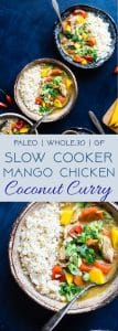 Whole30 Slow Cooker Mango Chicken Curry- Aneasy, healthy family-friendly weeknight dinner where the slow cooker does all the work for you! Gluten free and paleo/whole30 compliant too! Makes DELICIOUS leftovers for meal prep! | #Foodfaithfitness | #Glutenfree #Healthy #Paleo #Whole30 #Curry