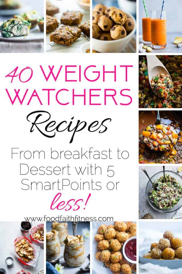 40 Weight Watchers Recipes with 5 SmartPoints or Less - Need some weight watchers recipes? All 40 of these gluten free, healthy recipes  are Weight Watchers friendly and only have 5 points or less! Recipes from breakfast through dessert! | #Foodfaithfitness | #SmartPoints #WeightWatchers #Healthy #Dinner #Glutenfree
