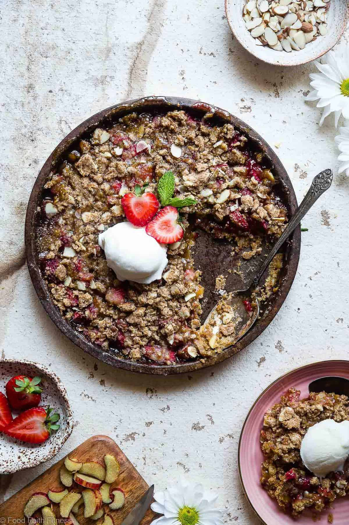 Gluten free rhubarb recipes in a serving dish with garnish
