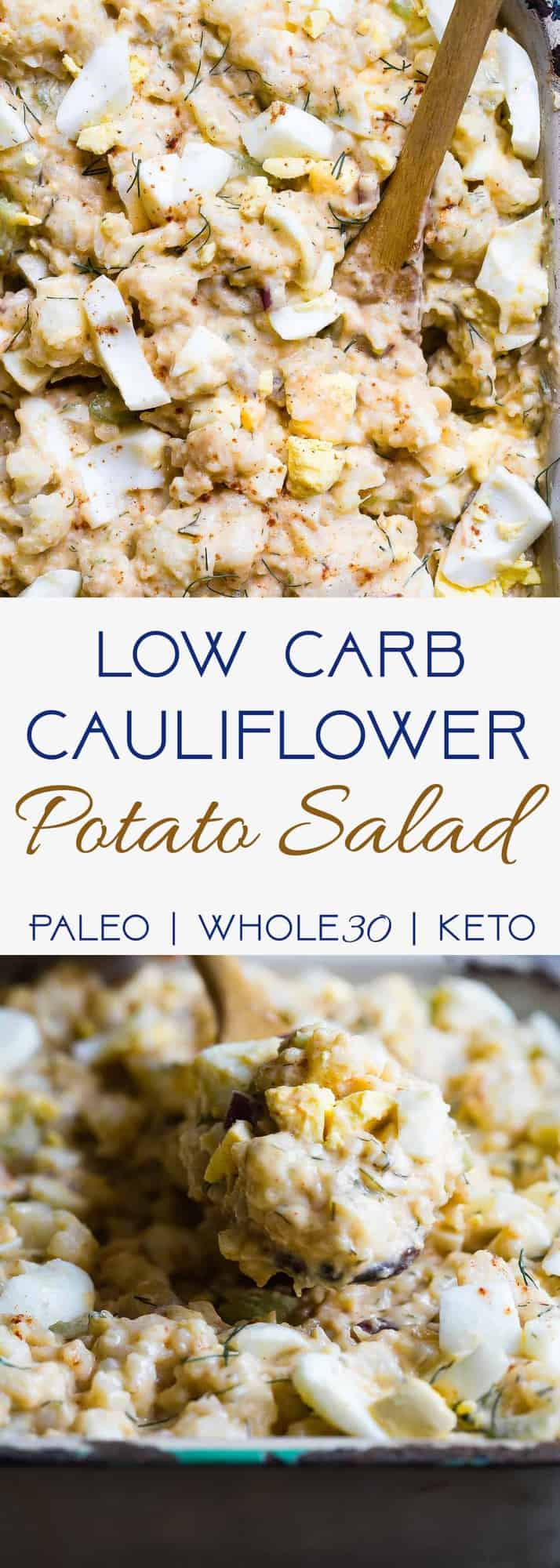 Low Carb Cauliflower Potato Salad -  This keto, paleo and whole30 Cauliflower Potato Salad tastes EXACTLY like the classic potato salad without the carbs! Everyone will be fooled by this healthy comfort food! | #Foodfaithfitness | #Paleo #Keto #Glutenfree #Lowcarb #Whole30