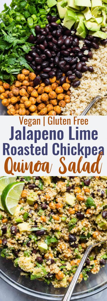 Mexican Quinoa Salad with Roasted Chickpeas  - This EASY quinoa salad is going to be your new favorite side or potluck recipe! It's healthy, gluten free, vegan friendly and CRAZY YUMMY! The Jalapeno lime dressing is EVERYTHING. | #Foodfaithfitness | #Vegan #Healthy #GlutenFree #Dairyfree #Quinoa