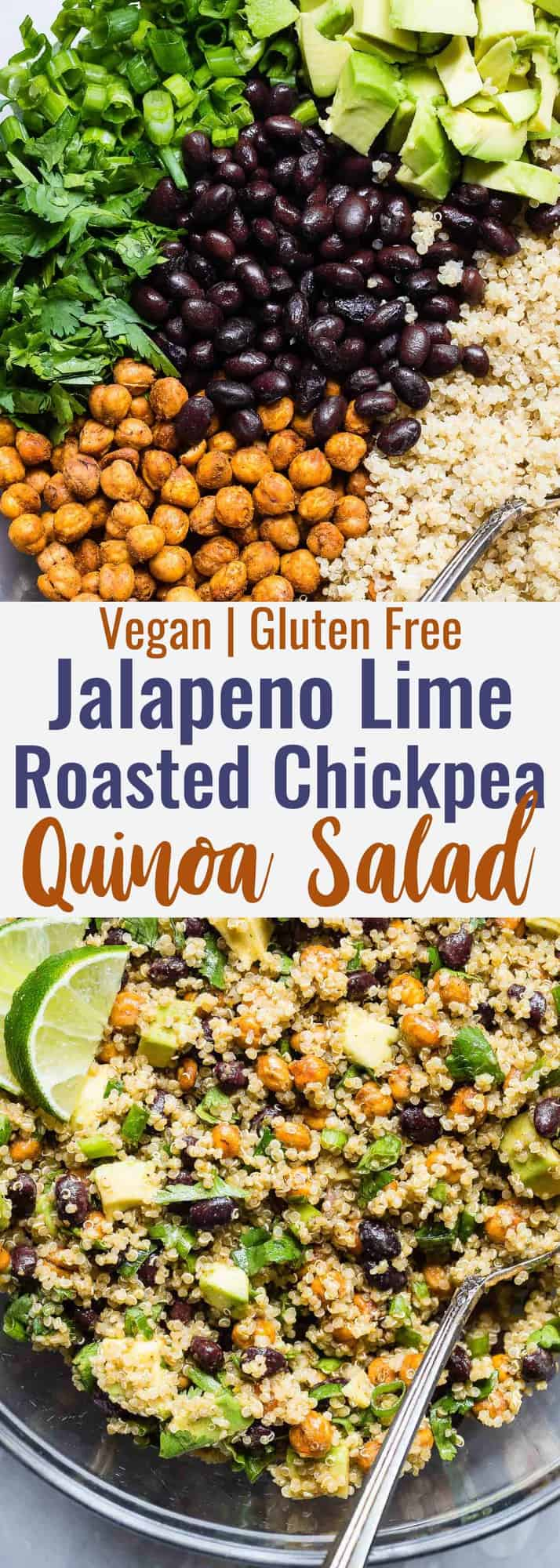 Mexican Quinoa Salad with Roasted Chickpeas -This EASY quinoa saladis going to be your new favorite side or potluck recipe! It's healthy, gluten free, vegan friendly and CRAZY YUMMY! The Jalapeno lime dressing is EVERYTHING.   #Foodfaithfitness   #Vegan #Healthy #GlutenFree #Dairyfree #Quinoa