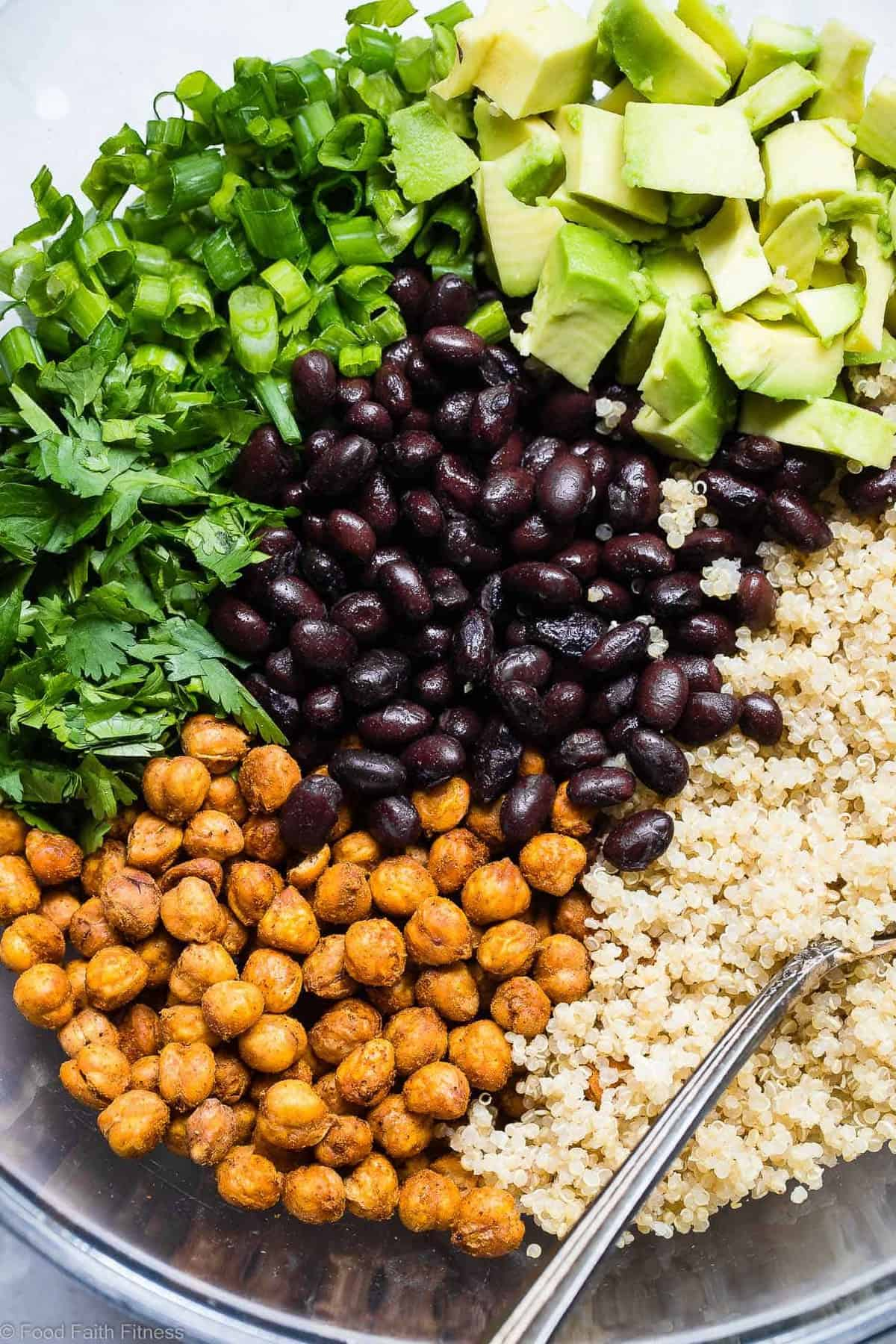 Mexican Quinoa Salad with Roasted Chickpeas -This EASY quinoa saladis going to be your new favorite side or potluck recipe! It's healthy, gluten free, vegan friendly and CRAZY YUMMY! The Jalapeno lime dressing is EVERYTHING. | #Foodfaithfitness | #Vegan #Healthy #GlutenFree #Dairyfree #Quinoa