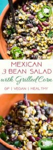 Three Bean Mexican Corn Black Bean Salad -This quick and easy, healthy three bean salad has a Mexican twistwith an avocado salsa dressing! It's the perfect Summer side and it's gluten free, vegan and only one Weight Watchers Freestyle point! | #Foodfaithfitness | #Glutenfree #Vegan #Weightwatchers #Healthy #July4th