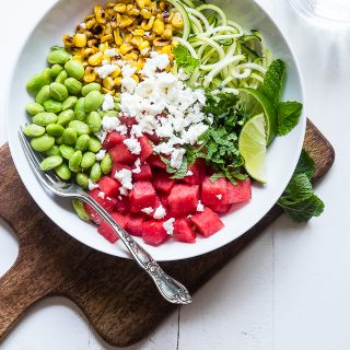 Summer Maple Lime Watermelon Zoodle Bowl