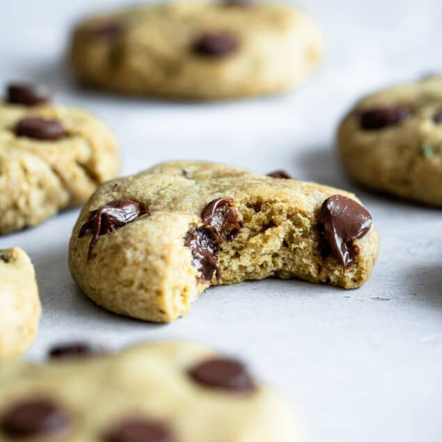 Healthy Chocolate Chip Cookies on a table