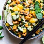 Thai Mango Avocado Salad with Grilled Sweet Potatoes