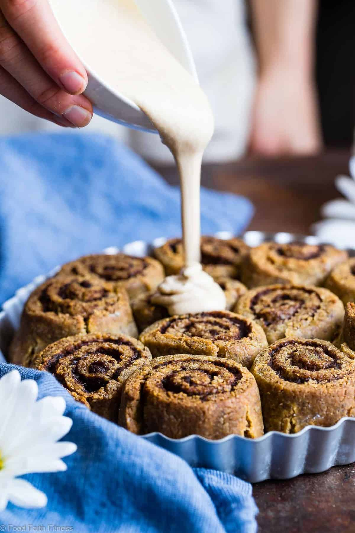The Best Paleo Cinnamon Rolls - These gluten free cinnamon rolls are a simple, wholesome remake of the classic baked good that you can't even tell is healthy, and gluten/dairy free! SO soft, fluffy and YUMMY! | #Foodfaithfitness | #Paleo #Glutenfree #Healthy #Dairyfree #Cinnamonrolls