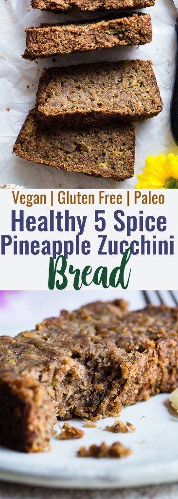 Five Spice Eggless Vegan Zucchini Bread -This healthy, gluten freezucchini bread has ADDICTING spicy-sweet flavor and is SO moist and tender! You'll never know it's dairy and grain free and paleo friendly! Freezer friendly too! | #Foodfaithfitness | #Glutenfree #Vegan #Paleo #Dairyfree #Healthy