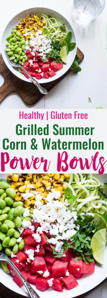 Summer Grilled Corn and Watermelon Power Bowls - Loaded with bright, fresh, Summer flavors and packed with plant based protein! These tangy, sweet and DELICIOUS bowls are going to be your go to for easy, weeknight Summer dinners!   #Foodfaithfitness   #Glutenfree #Healthy #Vegetarian #Watermelon #Corn