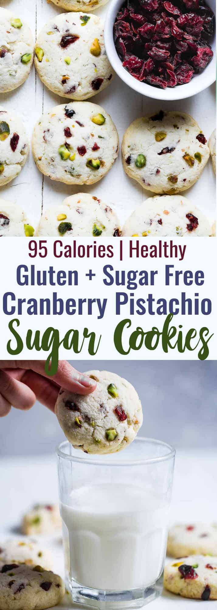 Gluten Free Sugar Free Sugar Cookies - These quick and easy, CHEWY sugar free sugar cookies have tangy and crunchy cranberries and pistachios! They're a healthier Christmas treat for only 95 calories! | #Foodfaithfitness | #Glutenfree #Sugarfree #Lowcarb #Healthy #Sugarcookies