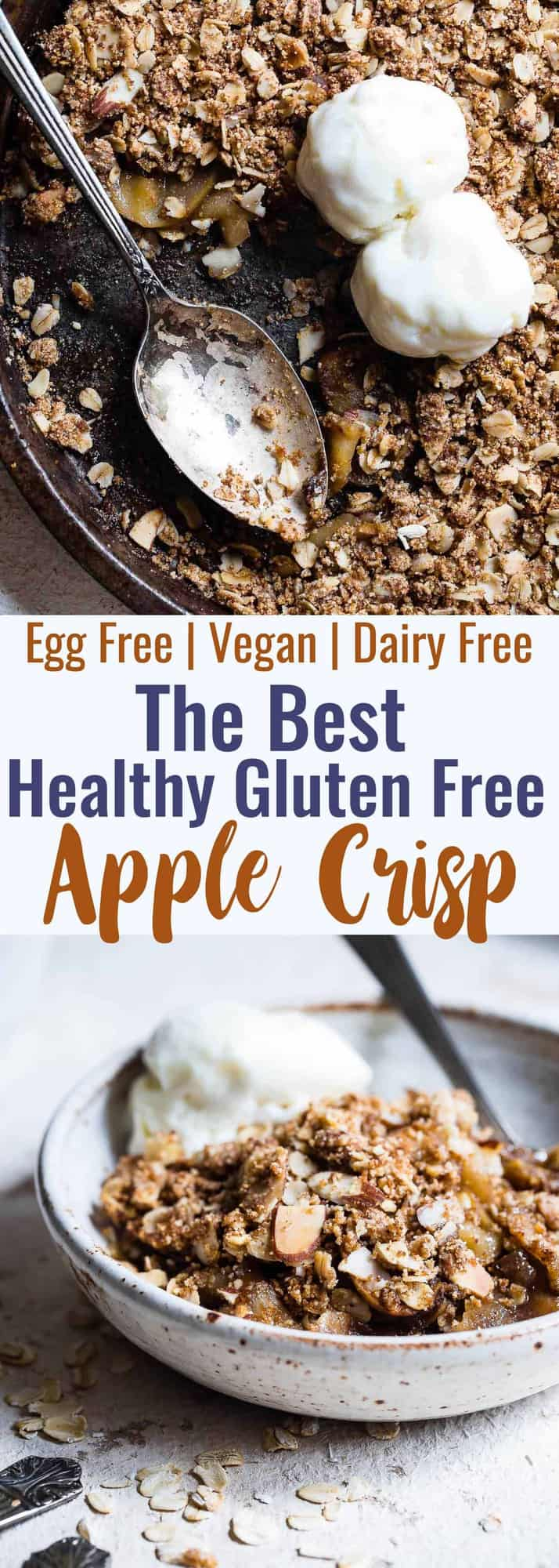 Easy Vegan Gluten Free Apple Crisp - Made with SUPER simple, wholesome ingredients and is perfectly spicy-sweet and yummy! The perfect, cozy fall dessert that you will never believe is gluten/dairy/egg free and healthy! | #Foodfaithfitness | #Glutenfree #Vegan #Dairyfree #Healthy #Eggfree