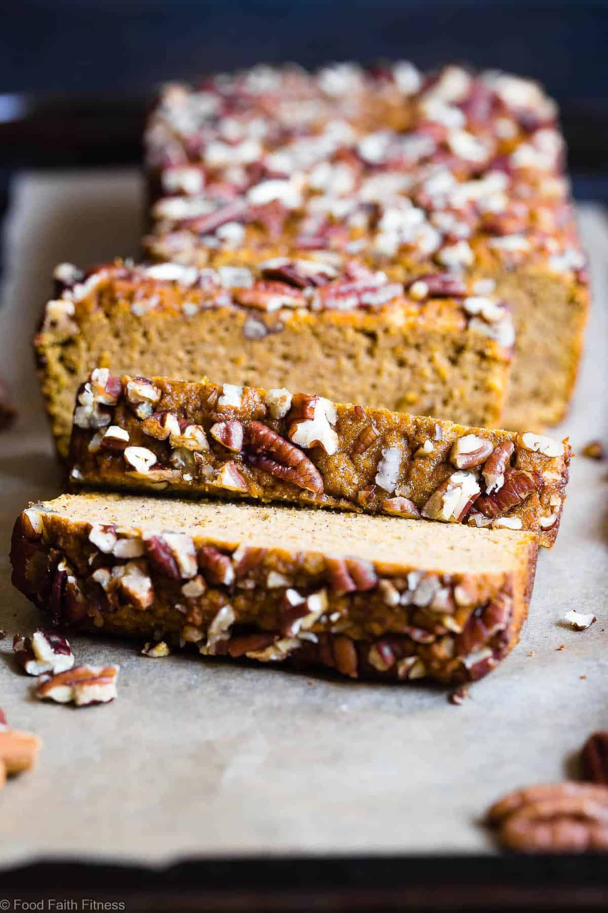 Gluten Free Paleo Pumpkin Bread Recipe - This EASY, healthy pumpkin bread is SO moist, chewy and perfectly spicy-sweet! All the best parts of fall in a simple, wholesome recipe that is great for breakfasts or snacks! | #Foodfaithfitness | #Glutenfree #Paleo #Healthy #Grainfree #Pumpkin