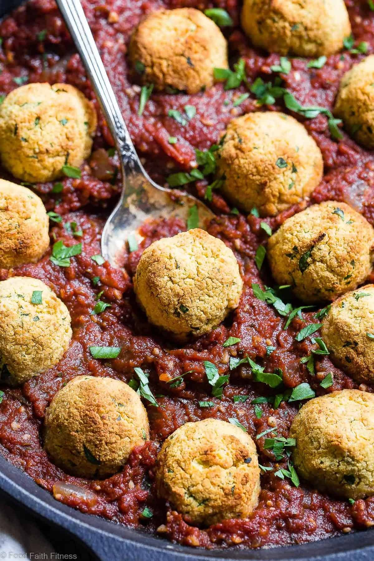 Gluten Free Vegan Chickpea Meatballs with Tomato Sauce - These meatless, gluten free meatballs are SO crispy, they will blow your mind! Serve them with an easy tomato sauce for a tasty, healthy dinner that's packed with plant protein and fiber! | #Foodfaithfitness | #Vegan #Glutenfree #Healthy #Vegetarian #Dairyfree
