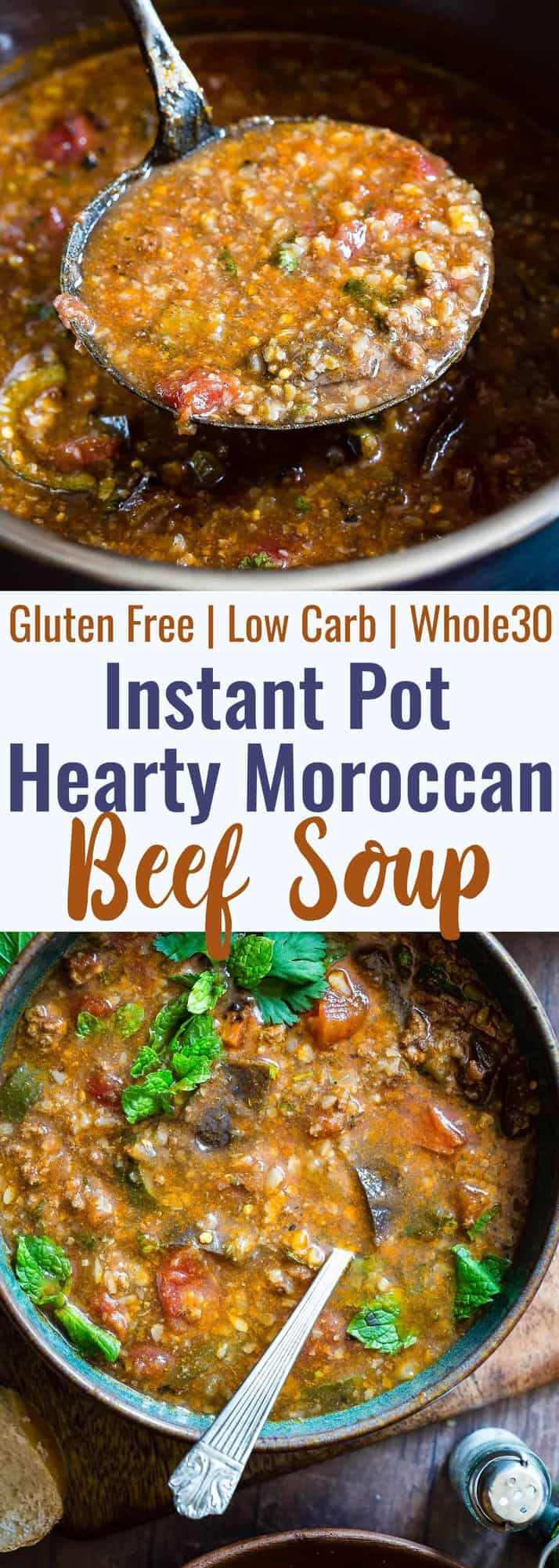 Moroccan Instant Pot Hearty Vegetable Beef Soup - A quick and easy, COZY, 30 minute dinner with a taste of the Middle East! Gluten free, low carb, paleo/whole30 compliant and so filling for only 220 calories!| #Foodfaithfitness | #Glutenfree #Paleo #Whole30 #Lowcarb #Instantpot