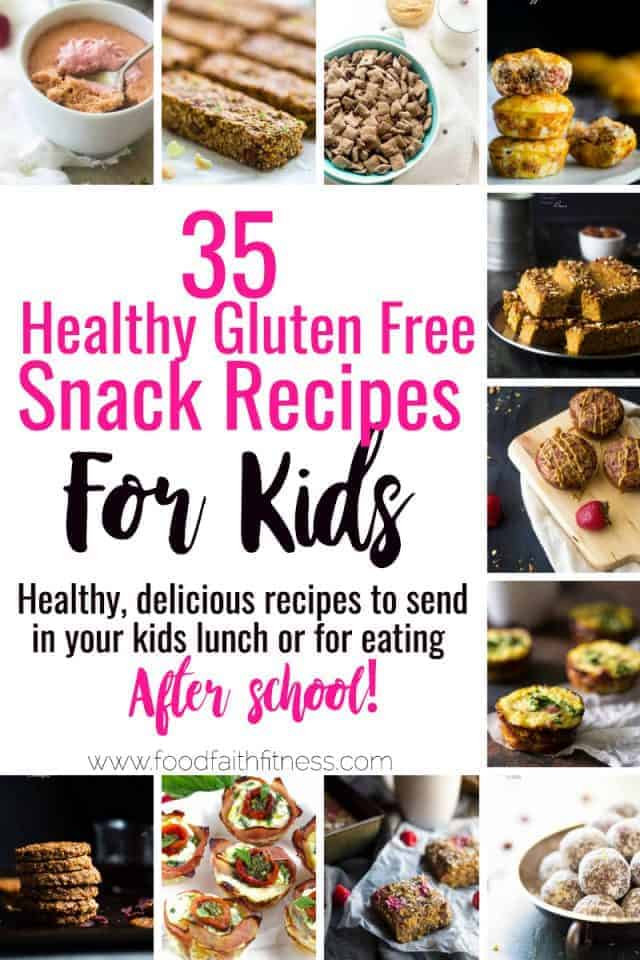 35 Gluten Free Healthy Snacks for Kids -All 35 of these kid friendly, gluten free andhealthy snacks recipesare quick, easy and great for lunchboxes or busy afternoons! Even adults will love these recipes!   #Foodfaithfitness   #Glutenfree #Healthy #Snacks #Kidfriendly
