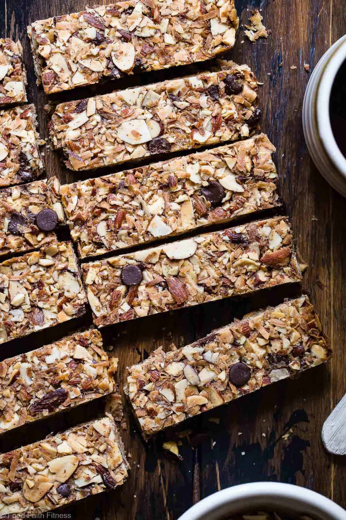 Keto Almond Joy Sugar Free Granola Bars - This low carb granola bars recipe is only 7 simple ingredients and tastes like an Almond Joy! Kids or adults will LOVE these and they're portable and freeze great too! | #Foodfaithfitness | #Keto #Glutenfree #Paleo #Dairyfree #Sugarfree