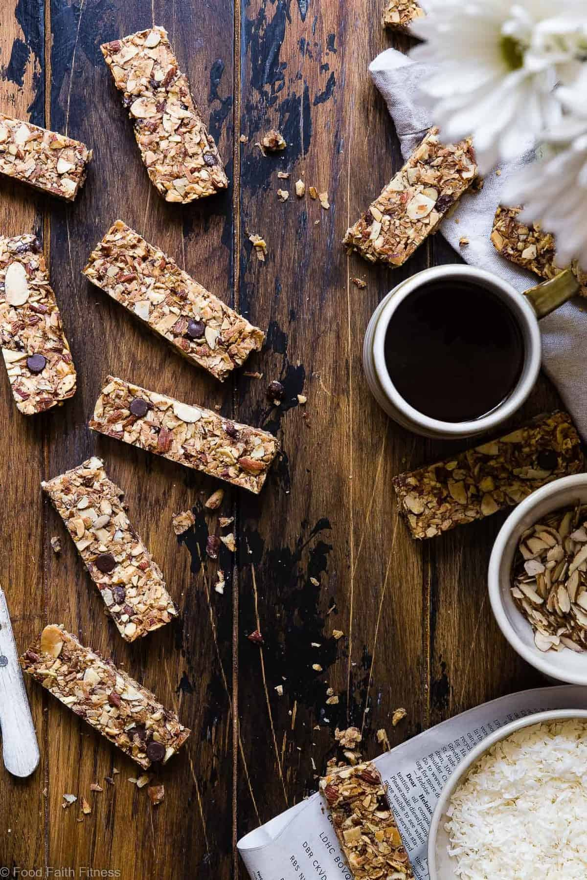 Sugar Free Keto Low Carb Granola Bars Recipe - This low carb granola bars recipe is only 7 simple ingredients and tastes like an Almond Joy! Kids or adults will LOVE these healthy granola bars and they're portable and freeze great too! | #Foodfaithfitness | #Keto #Glutenfree #Paleo #Dairyfree #Sugarfree