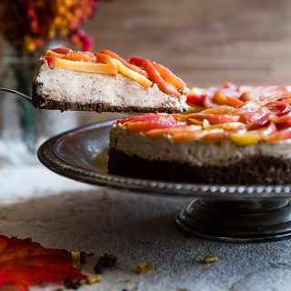 Goat Cheese Cheesecake with Honey Cinnamon Apples