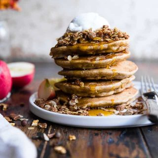 Apple Healthy Oatmeal Protein Pancakes with Greek Yogurt