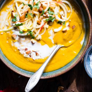 Creamy Healthy Fall Vegan Sweet Potato Soup in the Slow Cooker