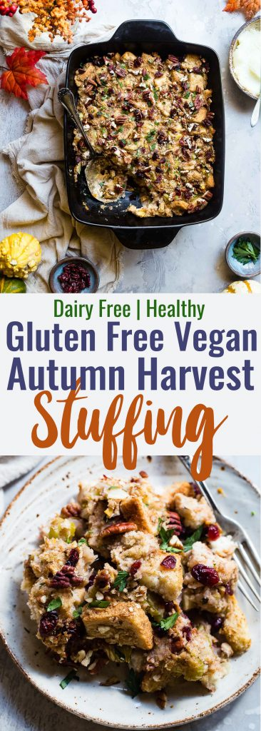 Harvest Gluten Free Vegan Stuffing -This moistDairy Free Simple Vegan Stuffing Recipe is loaded with fall flavors like pears, oranges, cranberries and cozy cinnamon! Easy, gluten free and SO tasty! | #Foodfaitfitness | #Glutenfree #Vegan #Dairyfree #Healthy #Thanksgiving