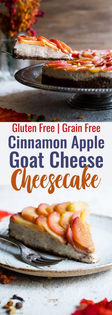 Honey Apple Goat Cheese Cheesecake -This creamy cheesecake is topped with cinnamon honey apples and is perfectly sweet and a little bit tangy! Gluten free, grain free and made with Greek yogurt to keep it light! My husband said it's the best dessert he has ever had!   #Foodfaithfitness   #Glutenfree #Cheesecake #Grainfree #Healthy #Goatcheese
