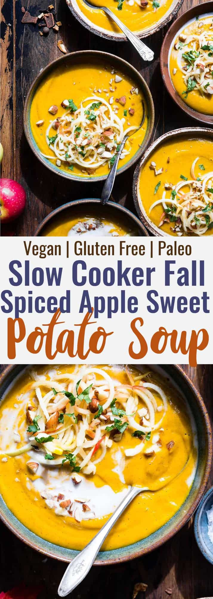 Slow Cooker Creamy Fall Vegan Sweet Potato Soup - this healthy sweet potato soup is made in the slow cooker for an EASY weeknight dinner that is loaded with spicy-sweet, cozy flavor! Gluten free, paleo and SO creamy and delicious! | #Foodfaithfitness | #Paleo #Glutenfree #Vegan #Dairyfree #slowcooker