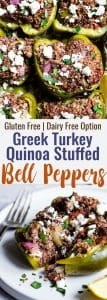 Greek Healthy Turkey Quinoa Stuffed Bell Peppers -TheseTurkey Quinoa Stuffed Bell Peppers are an easy, crowd-pleasing, weeknight dinner packed with Greek flavors! Healthy, gluten free, dairy free and SO delicious!   #Foodfaithfitness   #Glutenfree #Healthy #Quinoa #Dairyfree #Dinner