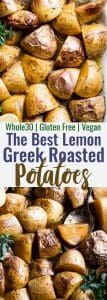 Oven Roasted Lemon Greek Potatoes -These are the BEST Oven Roasted Lemon Greek Potatoes! Tangy, zesty and so packed with flavor you will make them all the time! SO easy, whole30 complaint and vegan/ gluten free too!   #Foodfaithfitness   #Glutenfree #Vegan #Whole30 #Healthy #Dairyfree