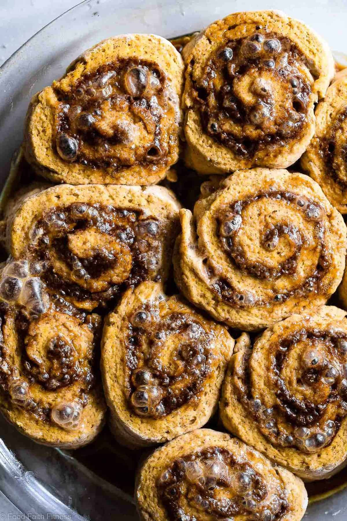 Gluten Free Vegan Pumpkin Cinnamon Rolls Recipe -These easy Pumpkin Spice dairy free Cinnamon Rolls are so soft and fluffy you won't believe they're gluten, dairy and egg free! Loaded with spicy-sweet fall flavor and SO delicious! | #Foodfaithfitness | #Glutenfree #vegan #dairyfree #eggfree #pumpkin