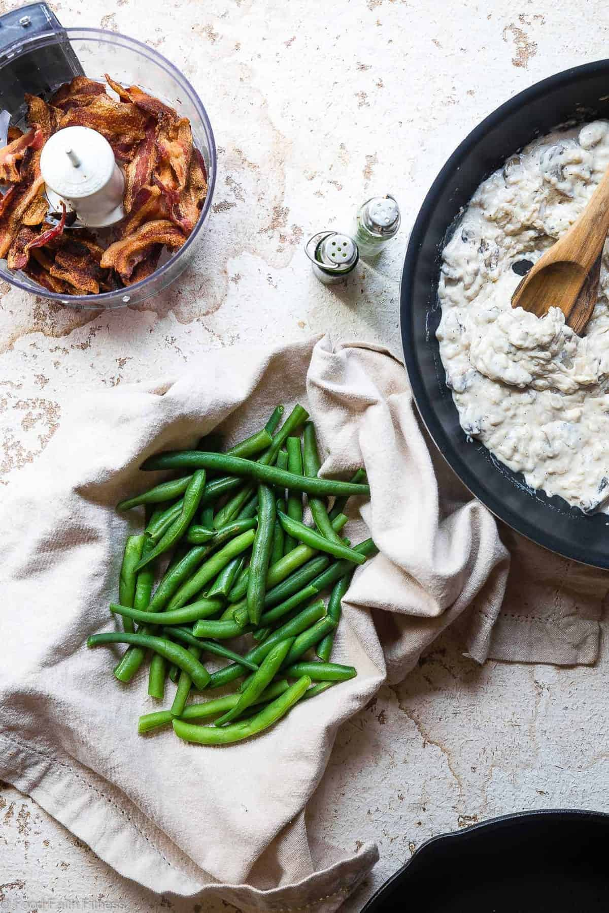 Low Carb Keto Green Bean Casserole - This Low Carb Green Beans Casserole is an EASY, healthy remake of the classic side! No one will know it's better for you! Dairy free option included! | #Foodfaithfitness | #Glutenfree #Dairyfree #Keto #Lowcarb #Healthy
