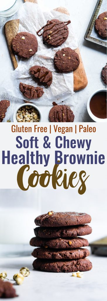 Vegan Gluten Free Brownie Cookies -These healthy and gluten free Chocolate Brownie Cookies are like always getting the edge piece- SO dense and chewy! You won't believe they're gluten free, paleo and only 120 calories!   #Foodfaithfitness   #Vegan #Paleo #Glutenfree #Dairyfree #Healthy