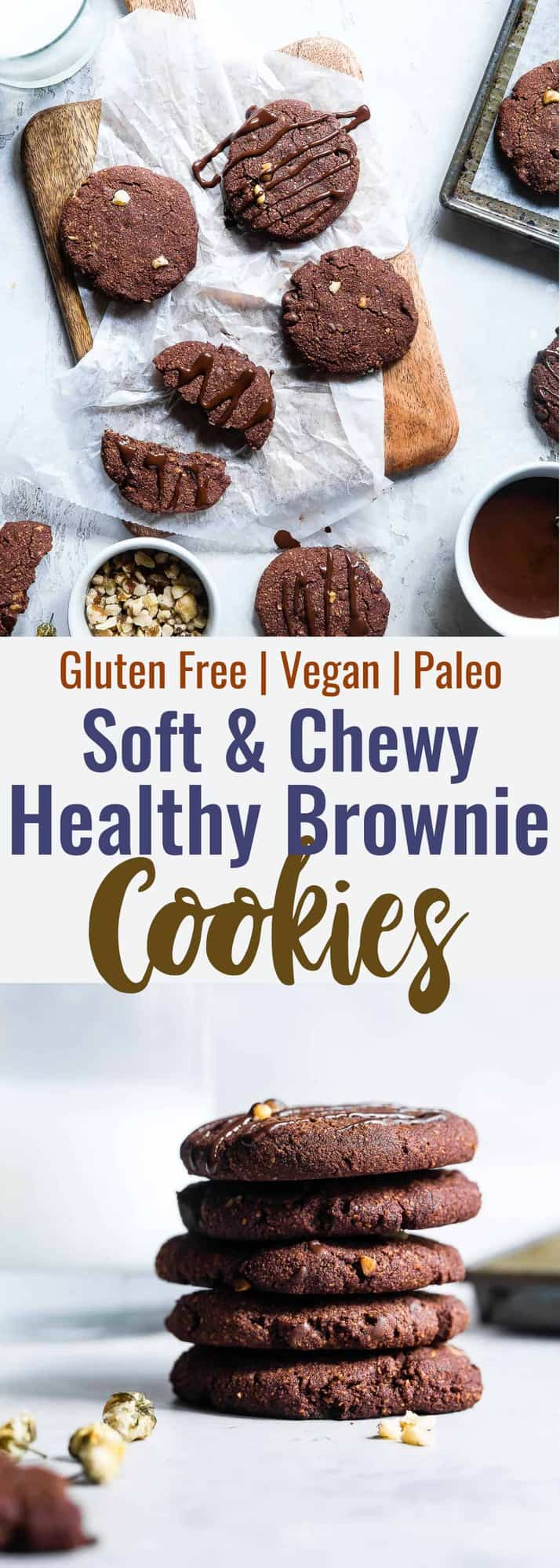 Vegan Gluten Free Brownie Cookies -These healthy and gluten free Chocolate Brownie Cookies are like always getting the edge piece- SO dense and chewy! You won't believe they're gluten free, paleo and only 120 calories! | #Foodfaithfitness | #Vegan #Paleo #Glutenfree #Dairyfree #Healthy