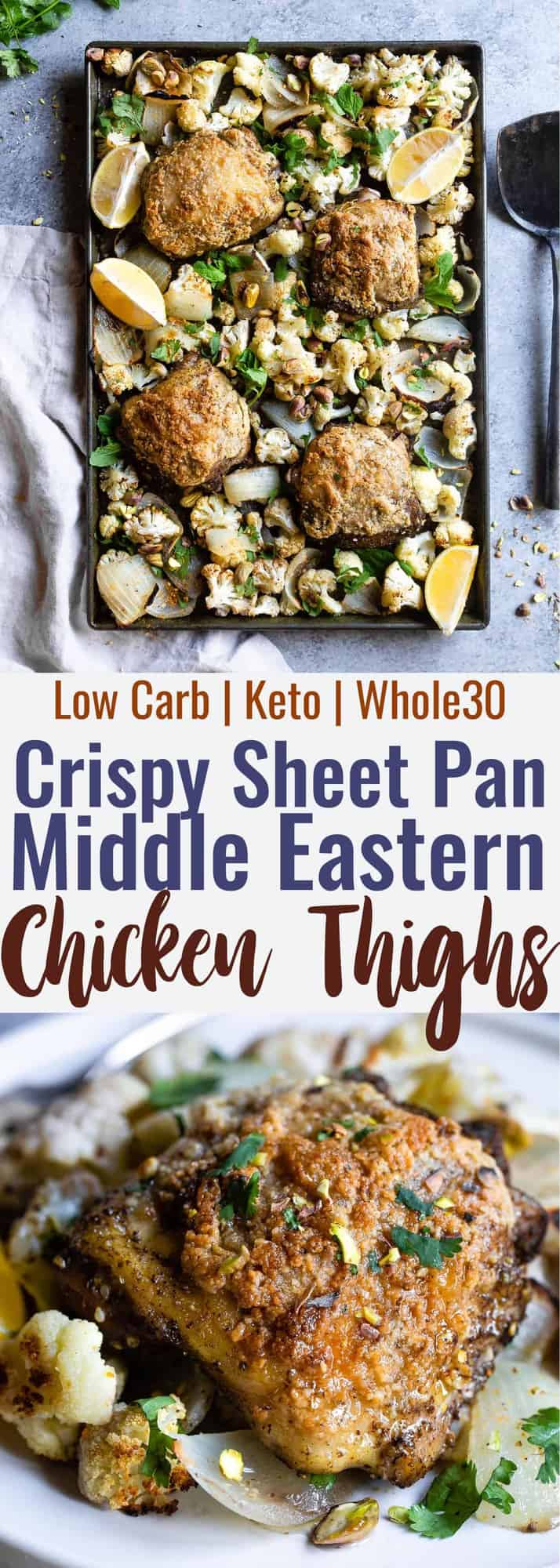 Sheet Pan Paleo Za'atar Chicken Thighs - an easy, one-pan, low carb healthy dinner with big, bold Middle Eastern flavors! The perfect keto friendly dish for meal prep or busy weeknights and you'll learn the secrets to crispy chicken thighs! | #Foodfaithfitness | #Glutenfree #Paleo #Whole30 #Lowcarb #Keto