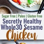 Easy Whole30 Sesame Chicken - This paleo friendly, and sugar/grain/dairy and gluten free CRISPY Sesame Chicken tastes just like takeout but is SO much better for you! A quick dinner that the whole family will love! | #Foodfaithfitness | #Glutenfree #Paleo #Whole30 #Sugarfree #Healthy